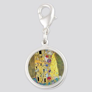 The Kiss by Gustav Klimt, Vint Silver Round Charm