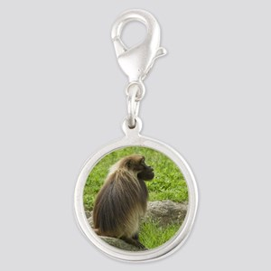 tile-baboon-1 Silver Round Charm