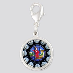 Stained Glass Rose Window Bible Scene Charms