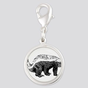 Honey Badger Poopin' Silver Round Charm