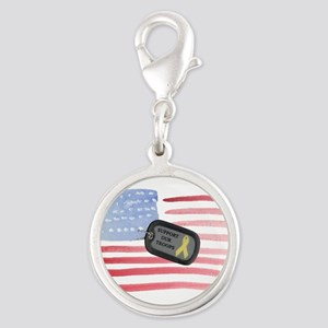 Support Our Troops Silver Round Charm