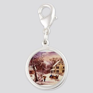 Curry Ives American Homestead Winter Silver Round