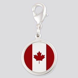 Canada: Canadian Flag (Red & W Silver Round Charm