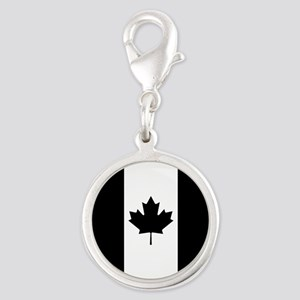Canada: Black Military Flag Silver Round Charm
