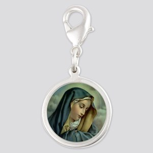 Our Lady of Sorrows Silver Round Charm