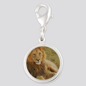 male lion kenya collection Silver Round Charm