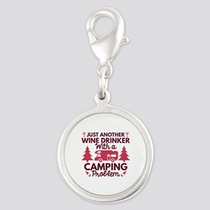 Wine Drinker Camping Silver Round Charm