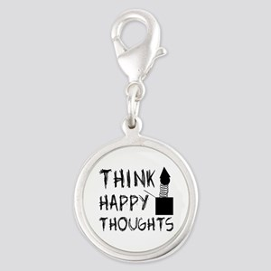 Think Happy Thoughts Silver Round Charm