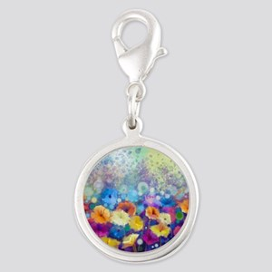 Floral Painting Silver Round Charm