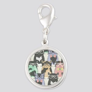 Hipster Cats Silver Round Charm