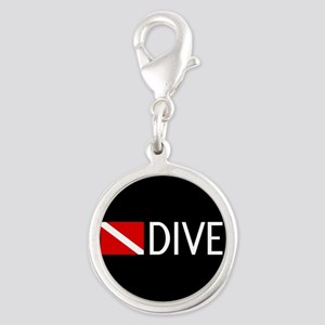 Diving: Diving Flag & Dive. Silver Round Charm