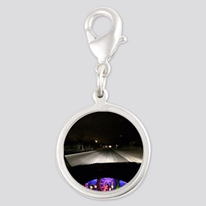 Night Drive Silver Round Charm