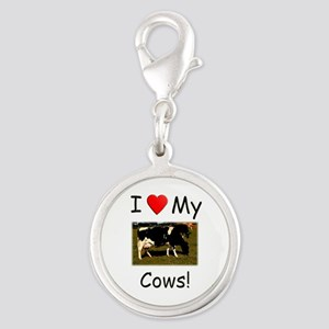 Love My Cows Silver Round Charm