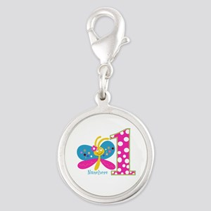 Butterfly First Birthday Silver Round Charm