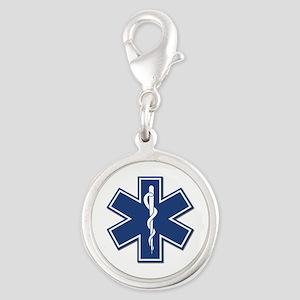 EMS EMT Rescue Logo Silver Round Charm