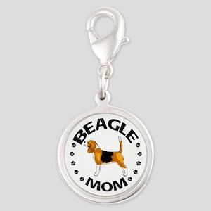 Beagle Mom Silver Round Charm