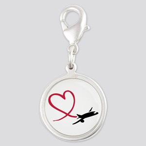 Airplane red heart Silver Round Charm