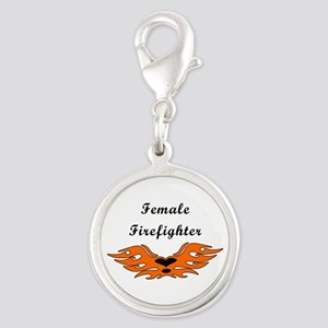 Female Firefighter Silver Round Charm