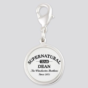 SUPERNATURAL Team DEAN black Silver Round Charm