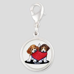 Beagle Heartfelt Duo Silver Round Charm