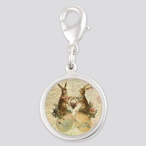 Vintage French Easter bunnies Silver Round Charm