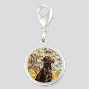 Spring - Chocolate Lab 11 Silver Round Charm