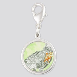Voice-African Gray Silver Round Charm