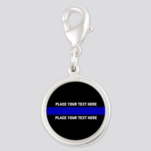 Thin Blue Line Customized Silver Round Charm