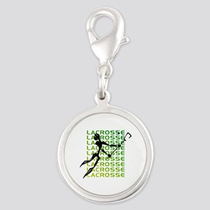 Abstract Lacrosse Silver Round Charm