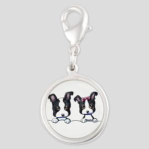 KiniArt Boston Terrier Silver Round Charm