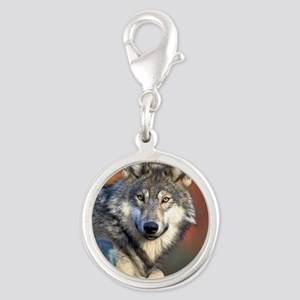 Wolf Wolves Lovers Silver Round Charm