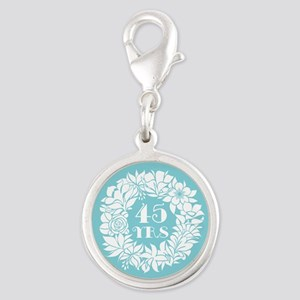 45th Anniversary Wreath Silver Round Charm