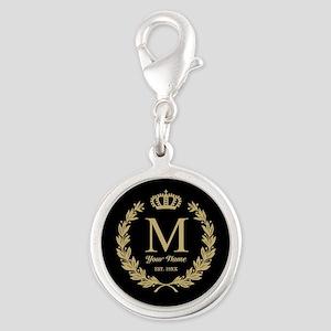 Monogrammed Wreath & Crown Silver Round Charm