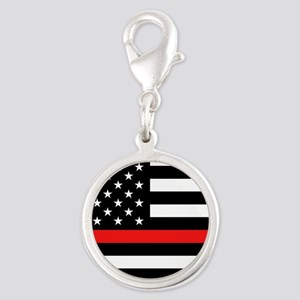 Firefighter: Black Flag & Red Silver Round Charm