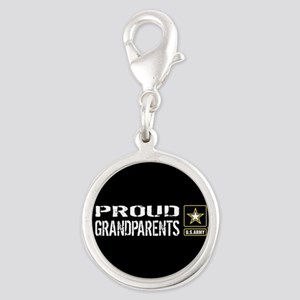 U.S. Army: Proud Grandparents Silver Round Charm