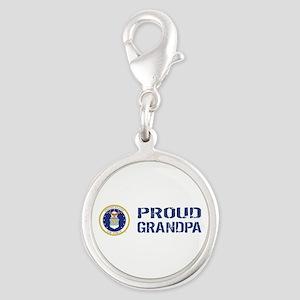USAF: Proud Grandpa Silver Round Charm