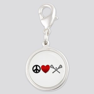 Peace Love Play Lacrosse Silver Round Charm
