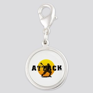 Lacrosse Attack Silver Round Charm