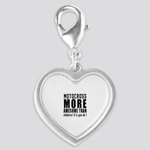 Motocross More Awesome Designs Silver Heart Charm