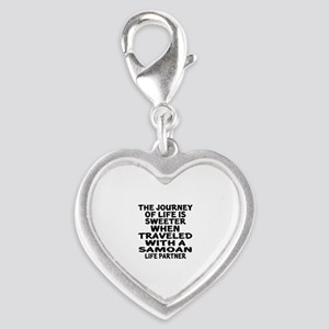 Traveled With Samoan Life Part Silver Heart Charm