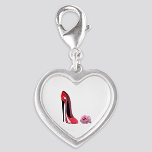 Red Stiletto Shoe and Rose Art Charms