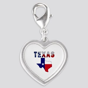 Flag Map With Texas Silver Heart Charm
