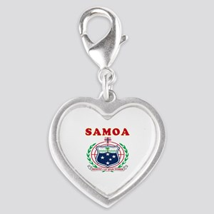 Samoa Coat Of Arms Designs Silver Heart Charm