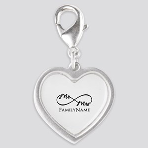 Custom Infinity Mr. and Mrs. Silver Heart Charm