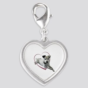 Love Jack Russell Terrier Dog Silver Heart Charm