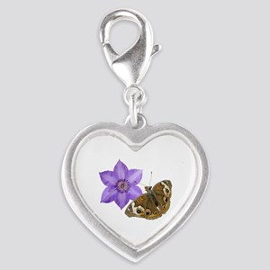 Squirrel Butterfly Flower Silver Heart Charm