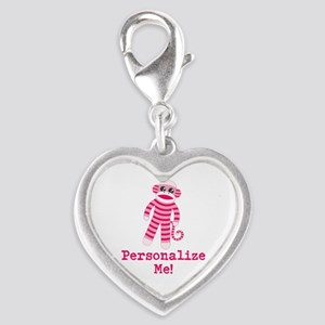 Pink Sock Monkey Silver Heart Charm
