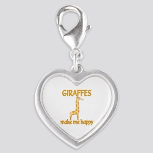 Giraffe Happy Silver Heart Charm