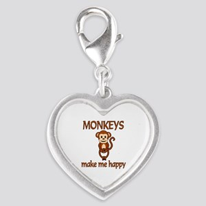 Monkey Happy Silver Heart Charm