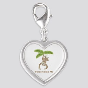 Personalized Monkey Silver Heart Charm